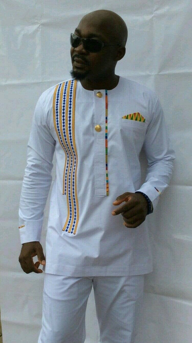 Ankara men's outfit,african men's clothing, african men's attire, top and bottom, white executive outfit,prom dress, wedding suit. #afrikanischerstil
