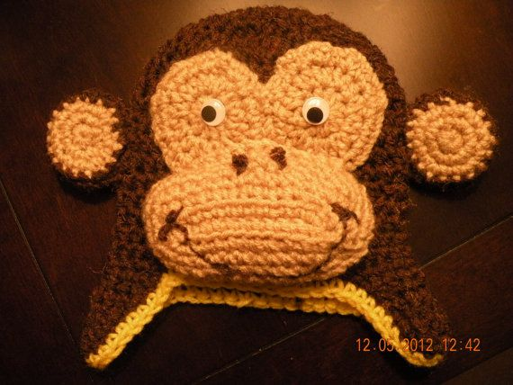 PLEASE READ FULL CONTENT; if you do not state a size then you will receive size 1-4.  Crochet Curious George Hat  allow 1-2 days to make; longer if