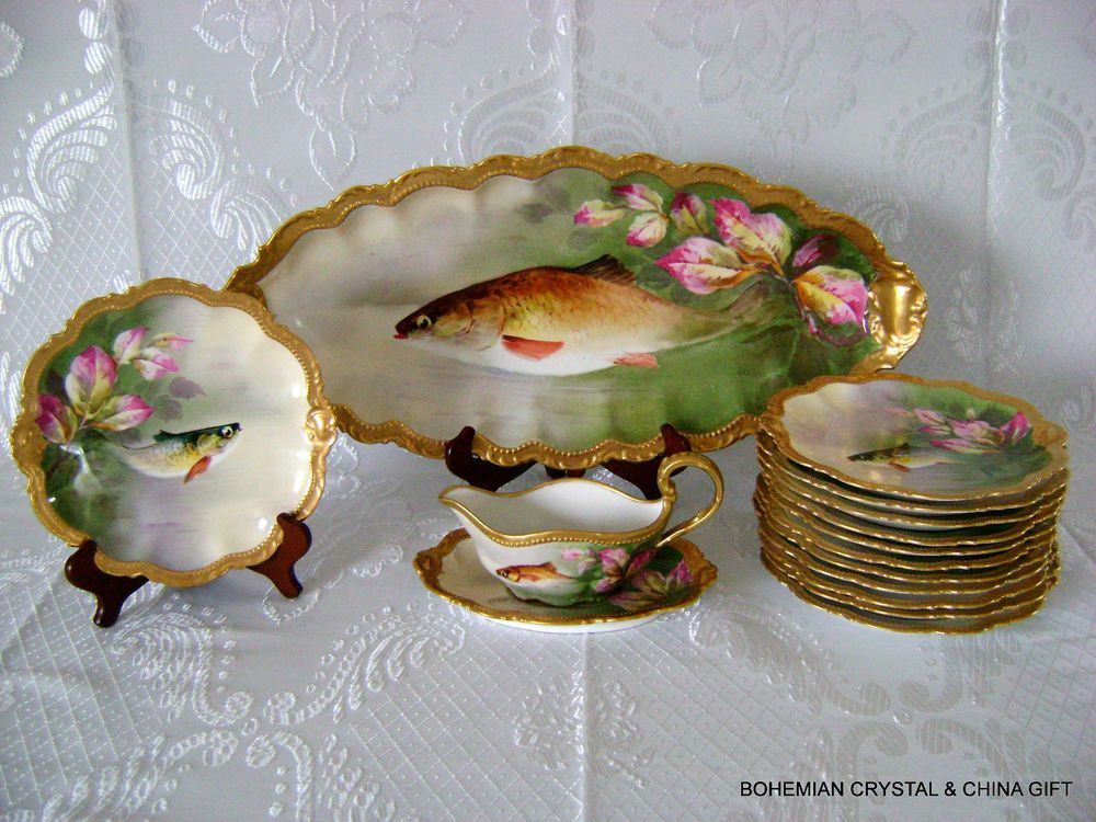 Antique french limoges hand painted fish set platter plates signed delsol 19th c & Antique french limoges hand painted fish set platter plates signed ...