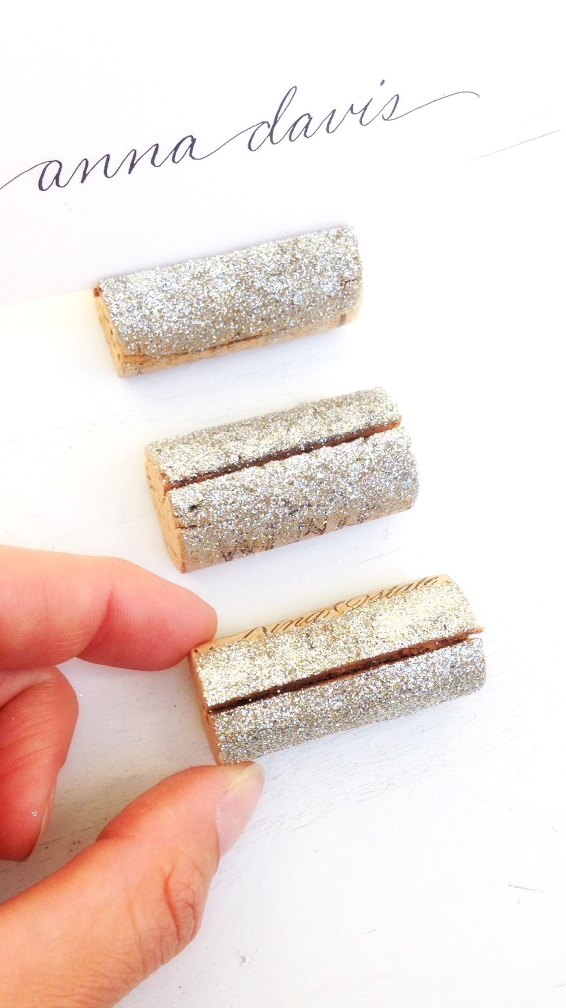 platinum silver glitter make these wine cork wedding place card holders extra special visit us