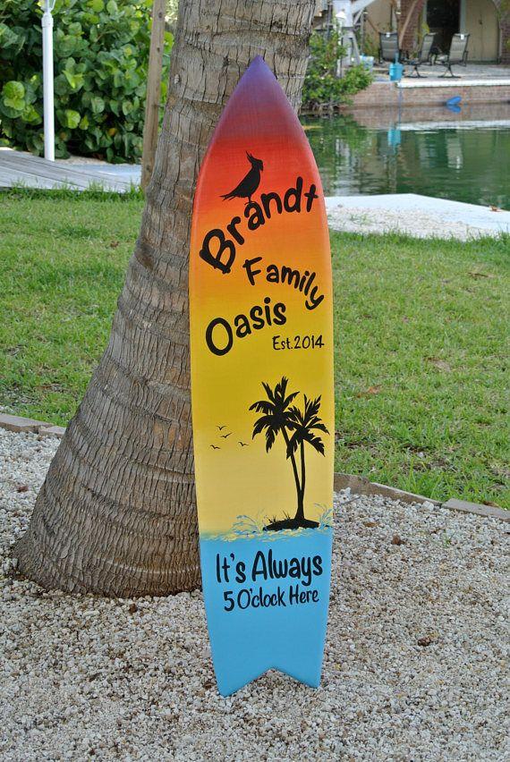 Family Oasis Wood sign. Surfboard Pool decor. Tiki Bar decor. Family ...