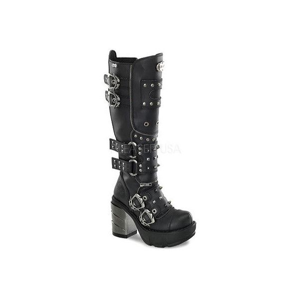 Women's Demonia Sinister 300 ($150) ❤ liked on Polyvore featuring shoes, black, demonia footwear, gothic shoes, black gothic shoes, high heeled footwear and studded high heel shoes