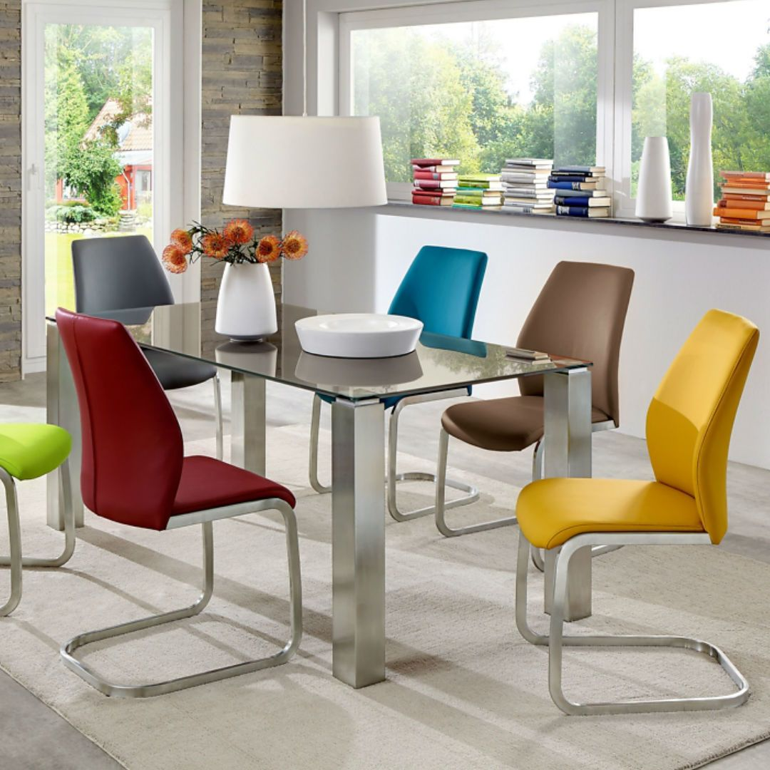 Mit Einem Modern Schwingstuhl In Frischen Farben Sorgst Du Fur Einen Frohlichen Mix Im Esszimmer Der Geradlinige Design G In 2020 Schwingstuhl Stuhle Freischwinger