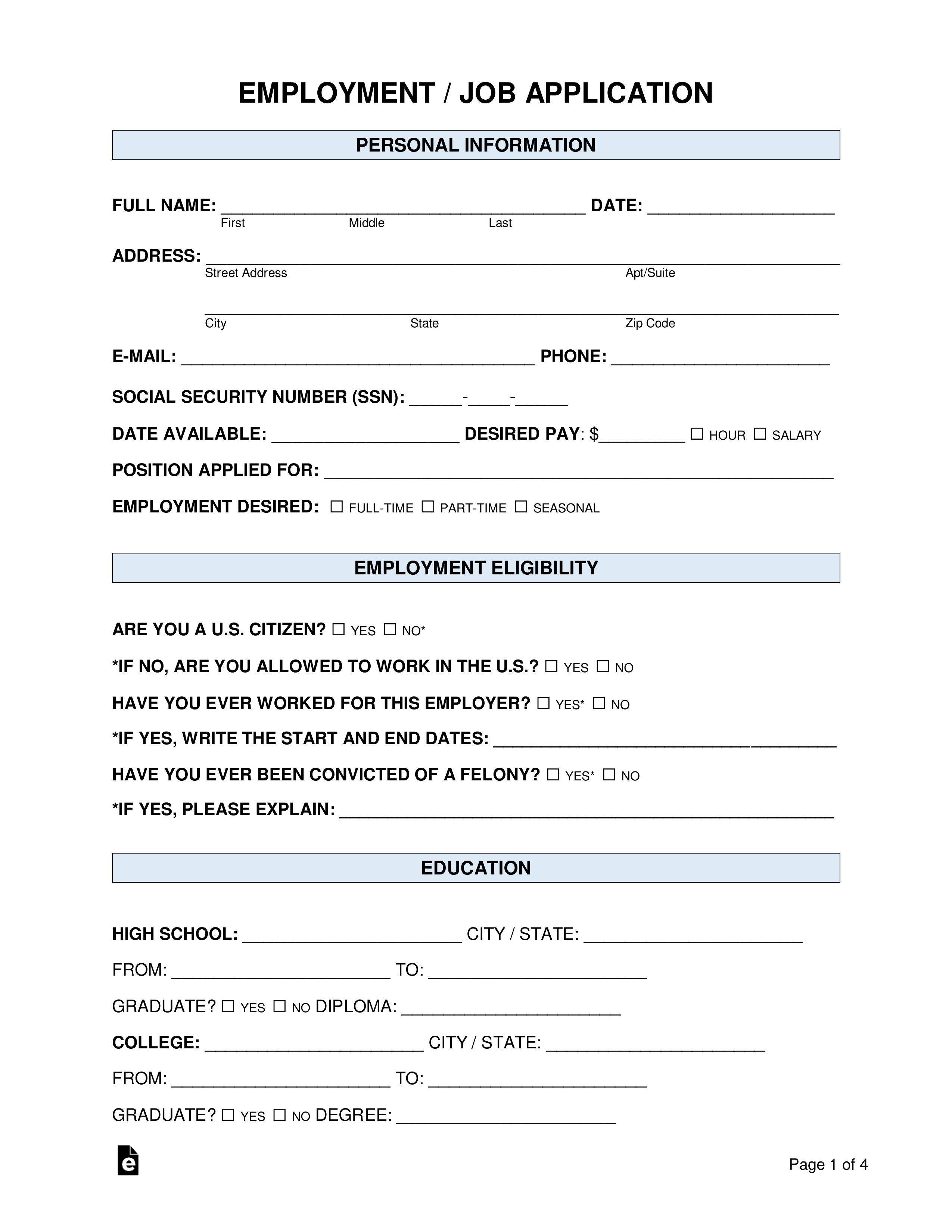 Employee Application Form Template Free Awesome 50 Free Employment Job Application Form Templates Job Application Template Job Application Form Job Application