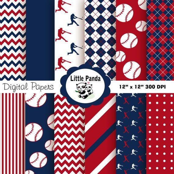 70 Off Sale Baseball Digital Paper Pack Digital Scrapbooking