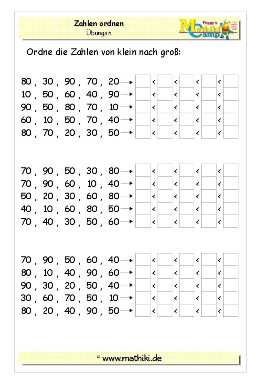 Zehnerzahlen ordnen bis 100 (Klasse 2) - kostenloses Arbeitsblatt mit Lösungen als PDF-Download #math