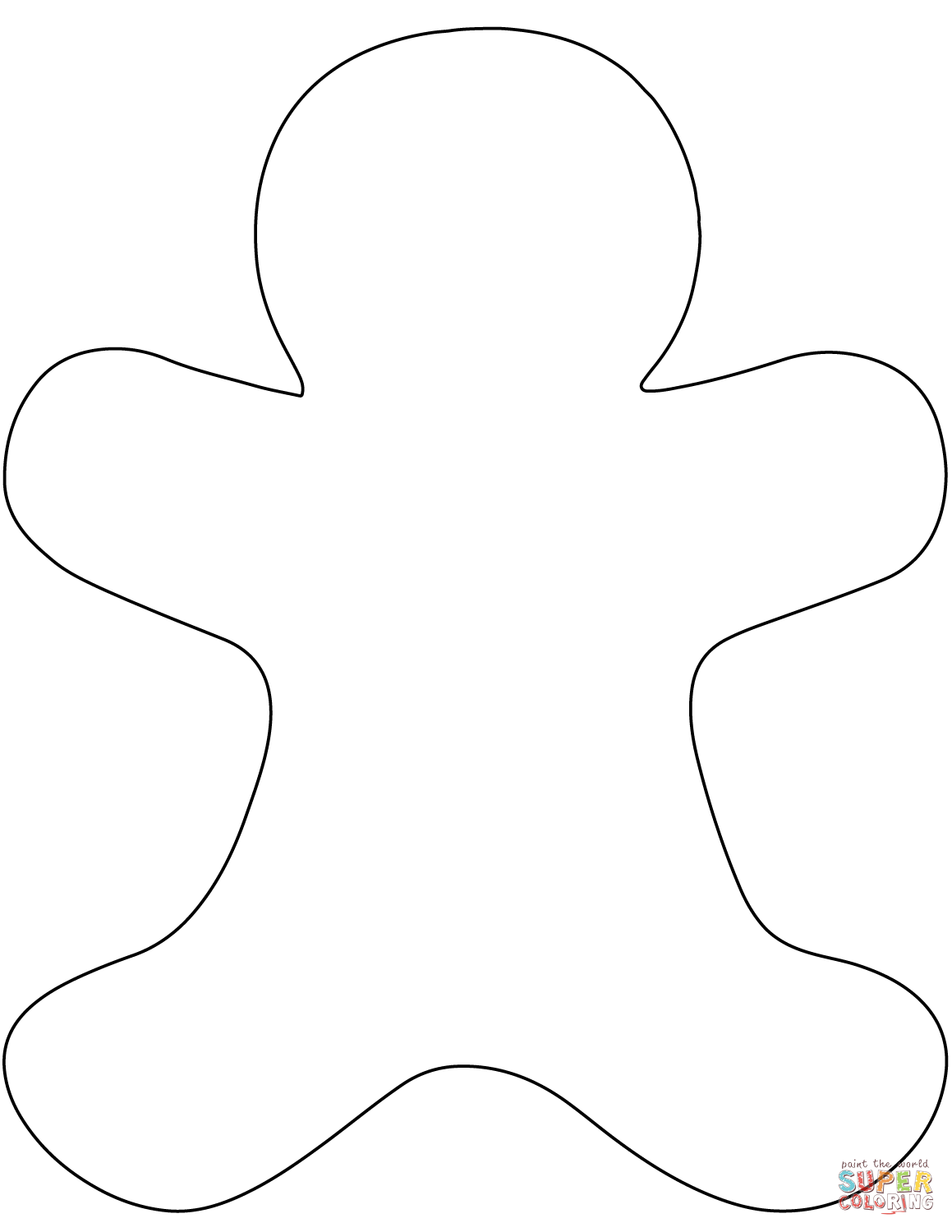 Blank Gingerbread Man Coloring Page From Christmas