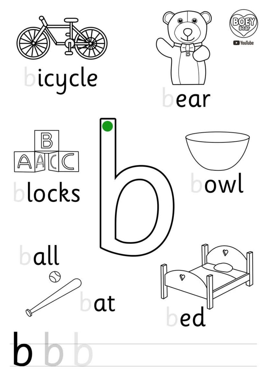 Free Phonics Printable For Eyfs Kindergarten Boey Bear Abc For Kids English Worksheets For Kids Preschool Letter B