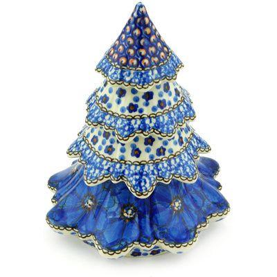 Polish Pottery Christmas Tree 7 Cobalt Poppies Unikat Polish Pottery Ceramic Christmas Trees Pottery