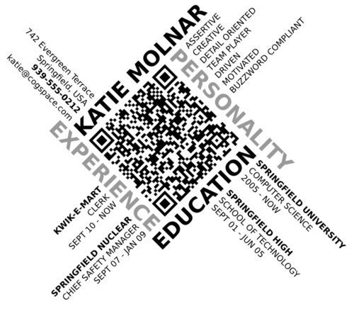Katie Molnar Qr Code Qr Code Business Card Resume Design Creative Cv