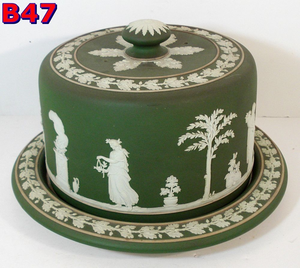 WEDGWOOD Green Dip Large CHEESE DOME small cake plate covered dish *B47* #Wedgwood & WEDGWOOD Green Dip Large CHEESE DOME small cake plate covered dish ...