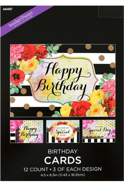 Brother Sister Design Studio Floral Birthday Cards 12 Count
