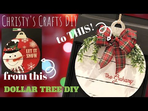Dollar Tree Christmas Family Name Sign DIY - YouTube #dollartreecrafts