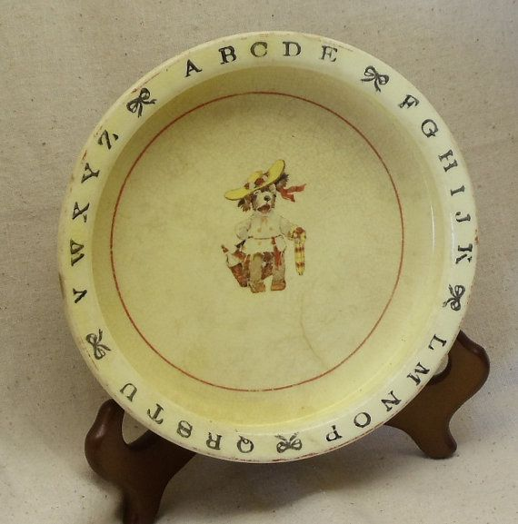 Vintage Yellow Ceramic Baby Dish,1930s Era, ABC's on Rim, Doggie with Hat, Umbrella,Baby Bottle, Crown Potteries,Antique Collectible,#VB7043 by ckdesignsforyou. Explore more products on http://ckdesignsforyou.etsy.com