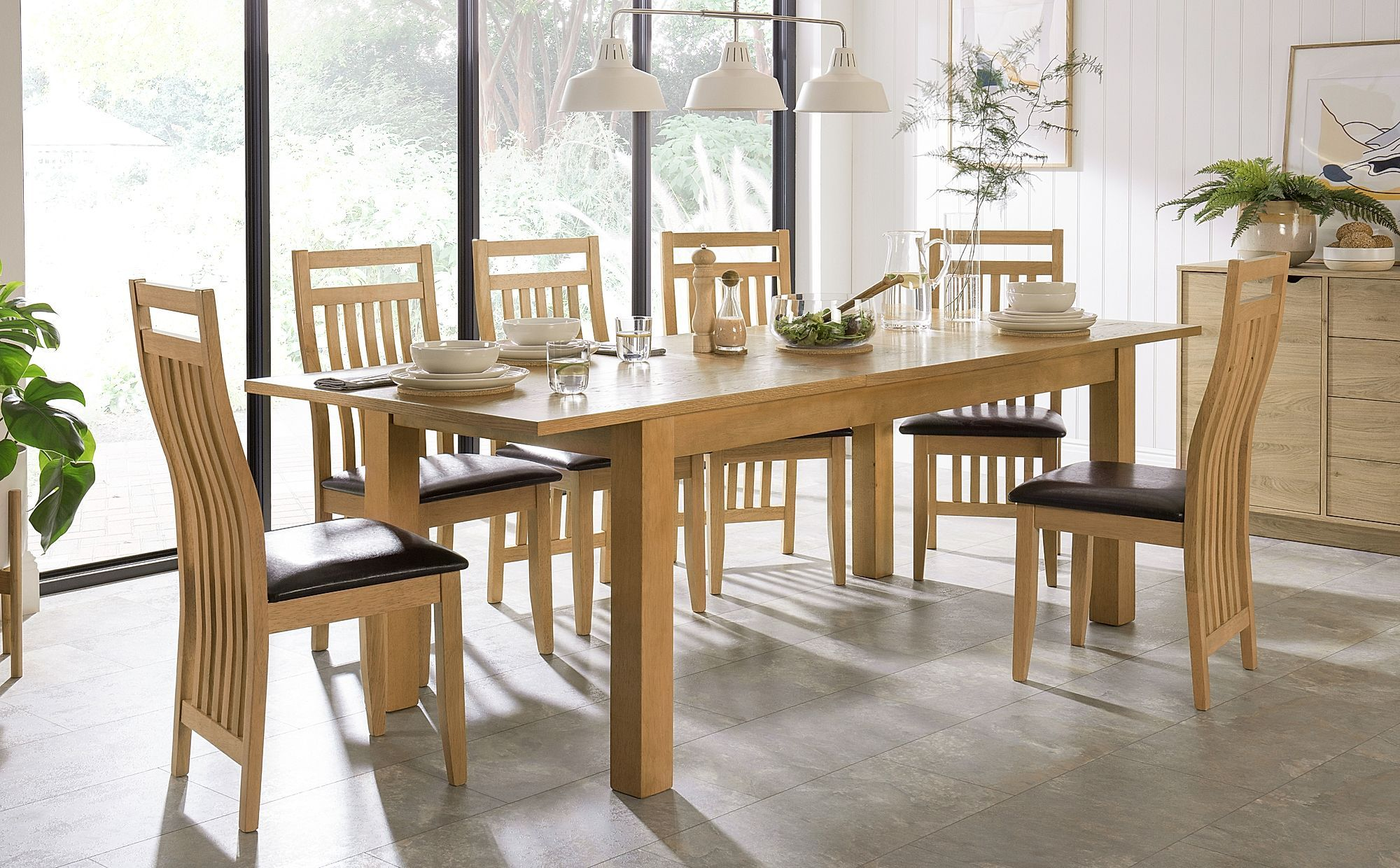 Hamilton Oak 180 230cm Extending Dining Table With 6 Bali Chairs
