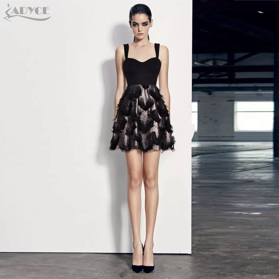 Summer Bandage Dresses Women Celebrity Party Dress Black Tassels Fringe  Sleeveless Mini Vestidos Clubwear 1c21d5088ffa