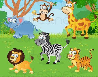 In The Wild Clipart Jungle Clipart Safari Clipart Jungle Etsy Baby Jungle Animals Animal Clipart Zoo Clipart