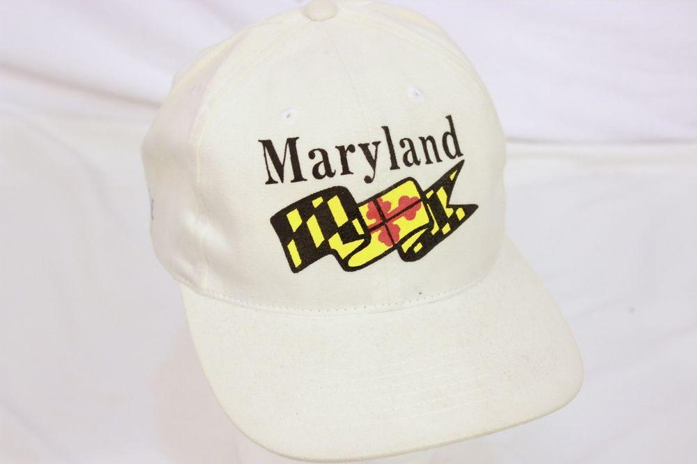Vintage University Of Maryland Terps Flag Logo Velcro Back Cap Hat With Pride #Wambat #MarylandTerrapins