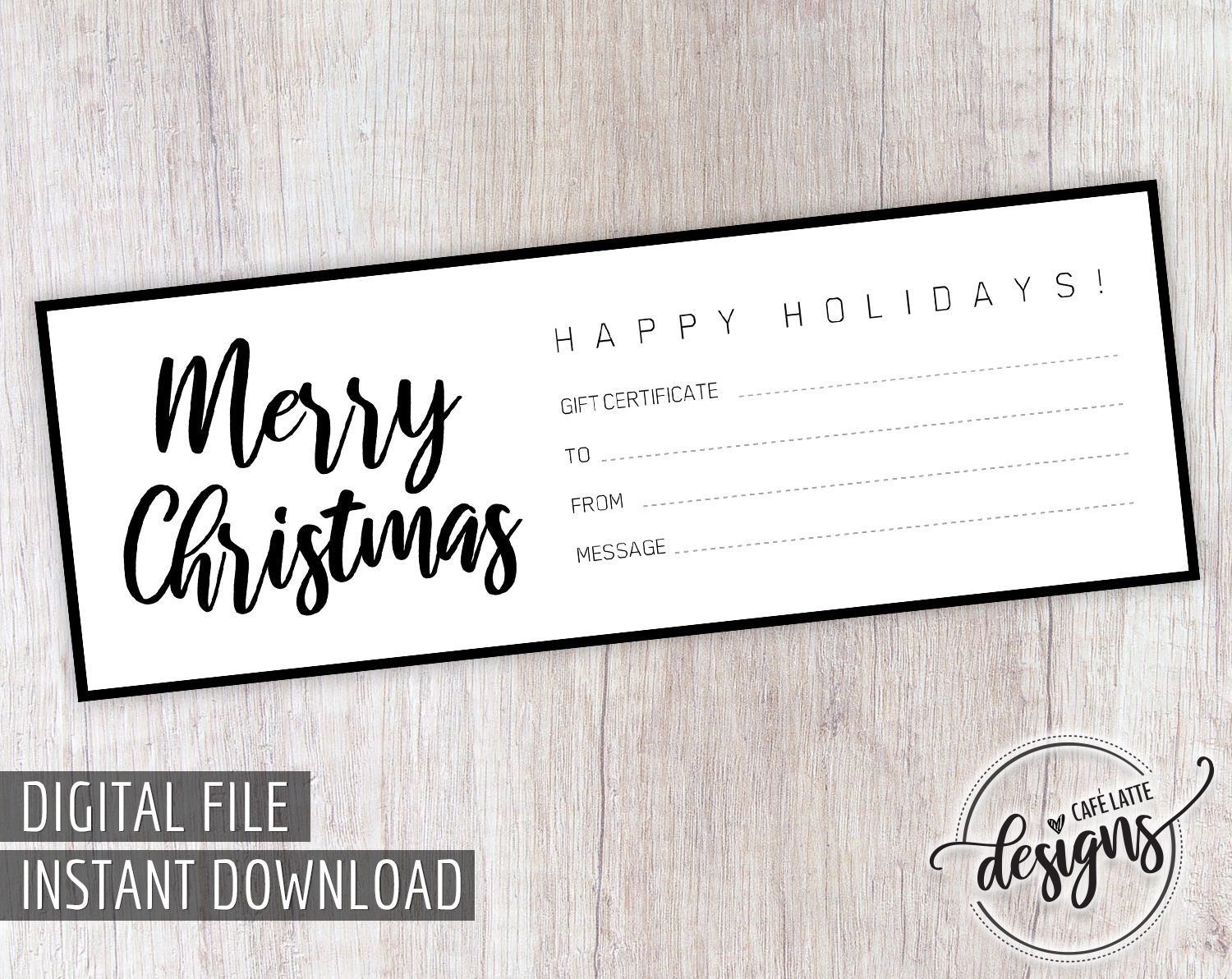 Christmas Gift Certificate Gift Certificate Printable Gift Coupon Gift Instant Download Gift Idea Holiday Gift Black White Diy Gift Printable Gift Certificate Christmas Gift Certificate Holiday Gift Certificates
