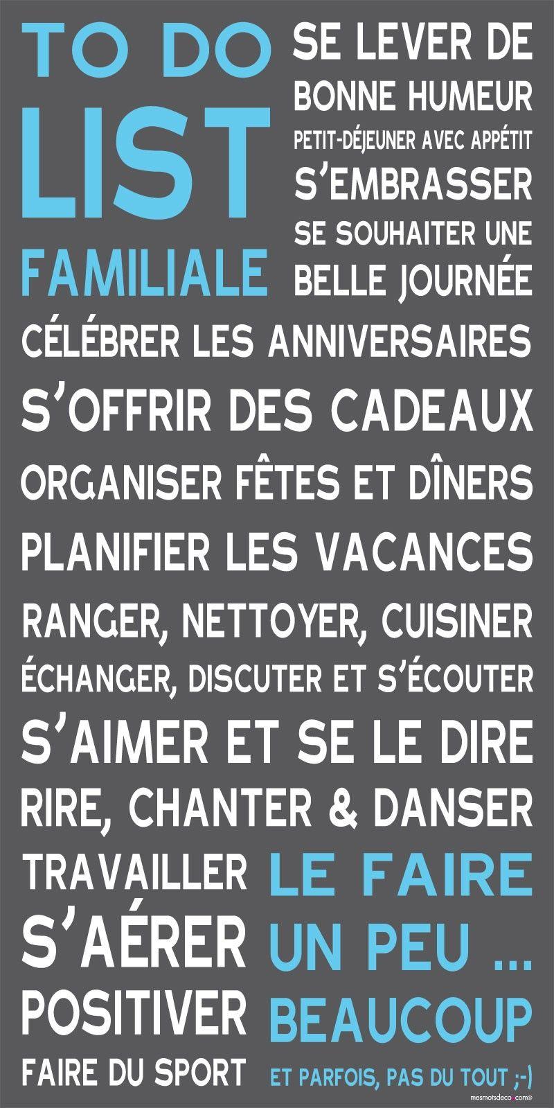 Tableau deco bleu gris - To Do List familiale | French | Pinterest