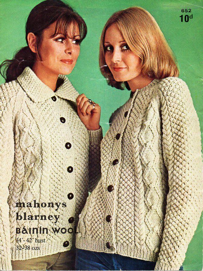 vintage ladies aran jackets knitting pattern pdf womens cable ...