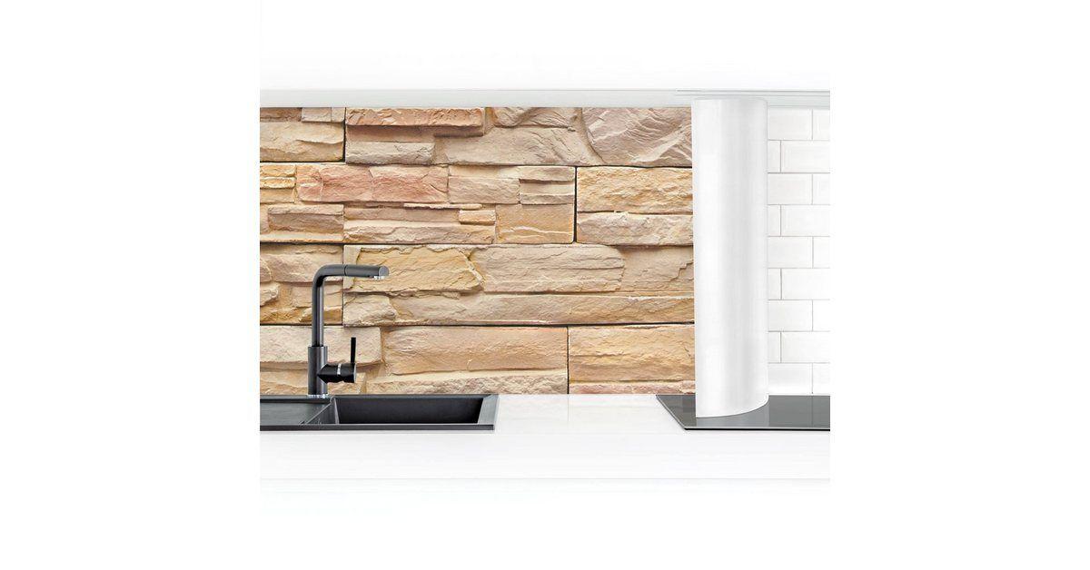 Photo of Küchenrückwand »Asian Stonewall Steinmauer aus wohnlichen Steinen«