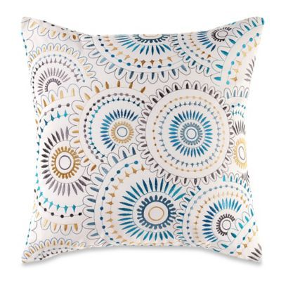 blue sham medallion teal watercolor and product project pillows gray throw cottage yellow shams pillow