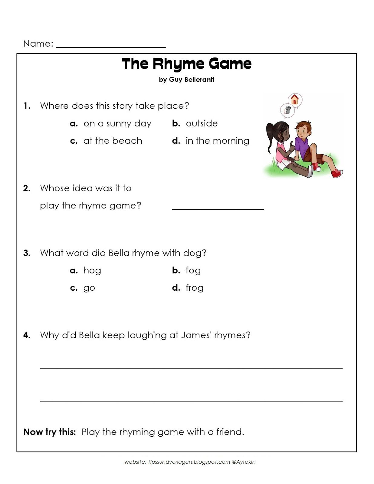 Free Printable 1st Grade English Worksheets