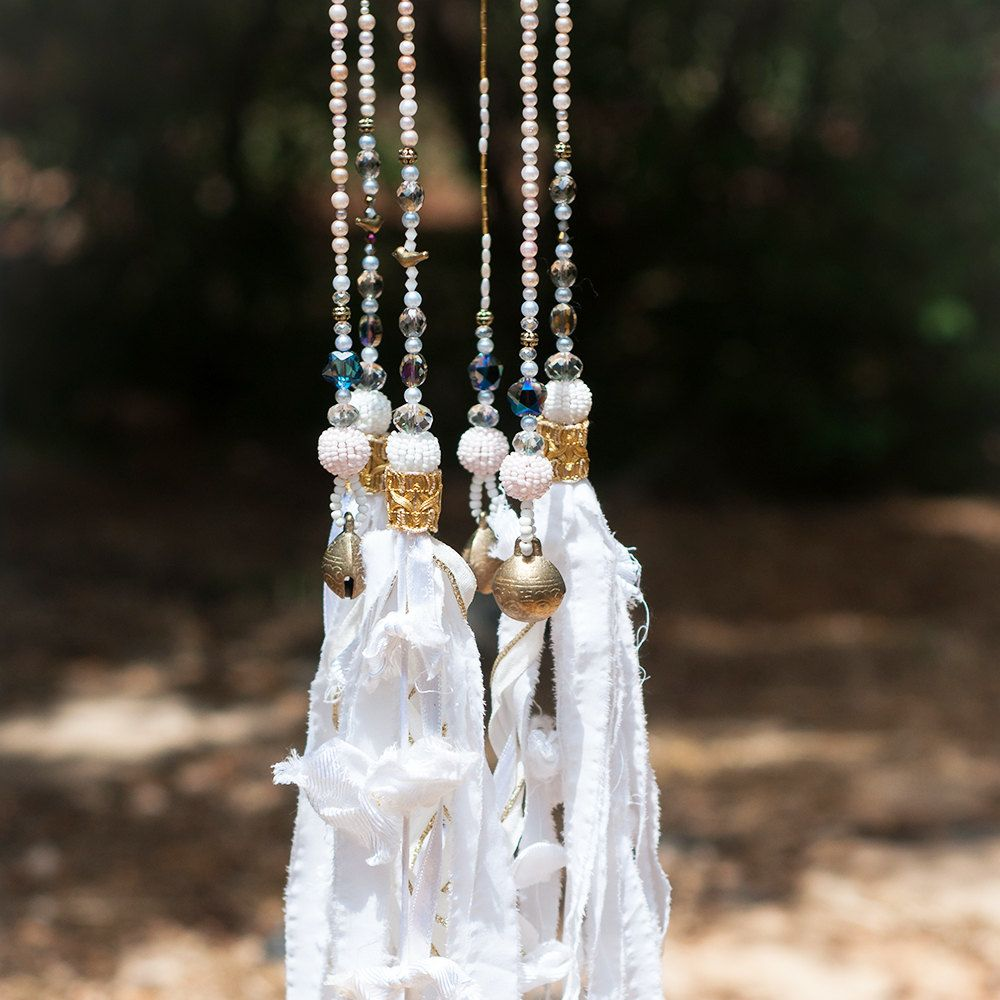 Wind Chime - White Beaded Mobile With Tibetian Bells