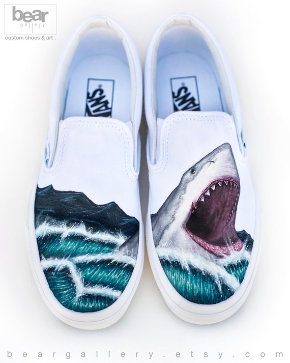 Custom Painted Great White Shark Vans Shoes Hand Painted