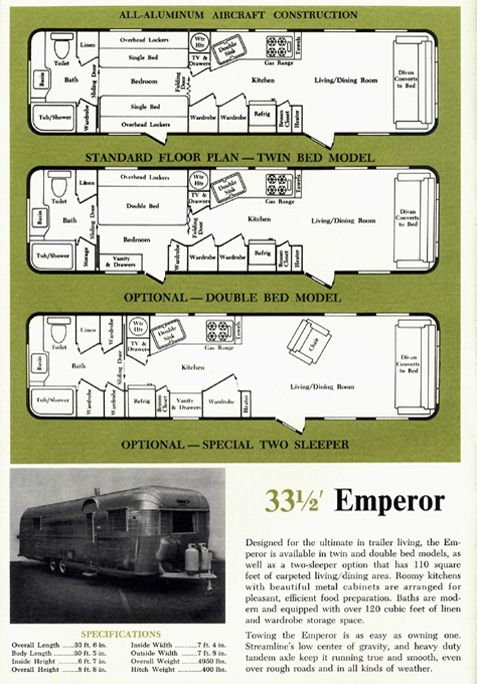 1963 Streamline Trailer Brochure page featuring the Emperor model, 33.5 ft long