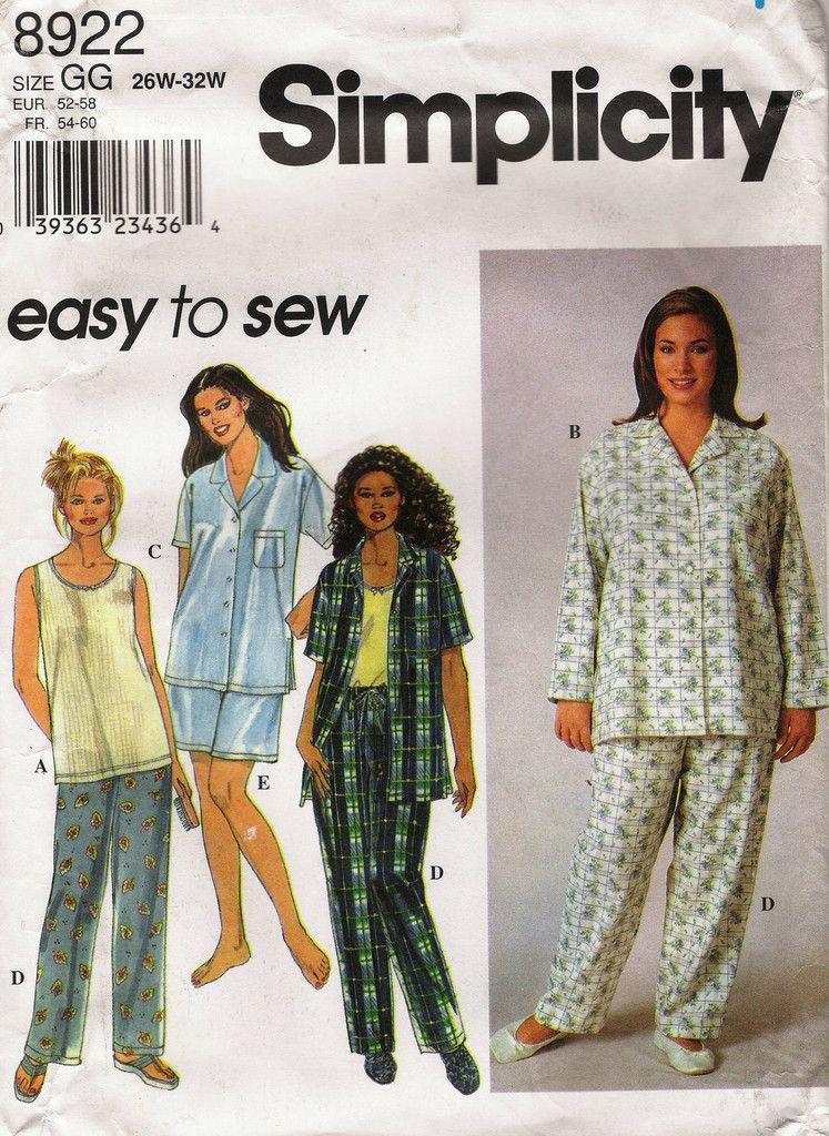 Simplicity 8922 Women's Pajamas Sleepwear