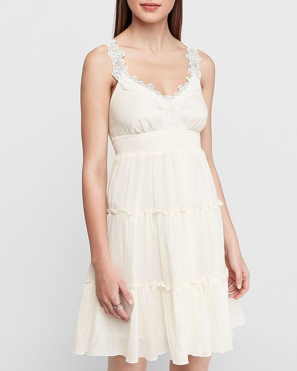 Tiered Skirt Lace Trapeze Dress Express Pretty Dresses Dresses Tier Skirt [ 1200 x 960 Pixel ]