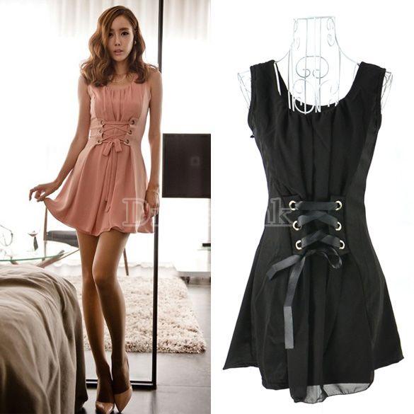 Lacets Sexy des femmes de Corée épissage robe courte sans manches robe de  mousseline de soie a0aad39874d