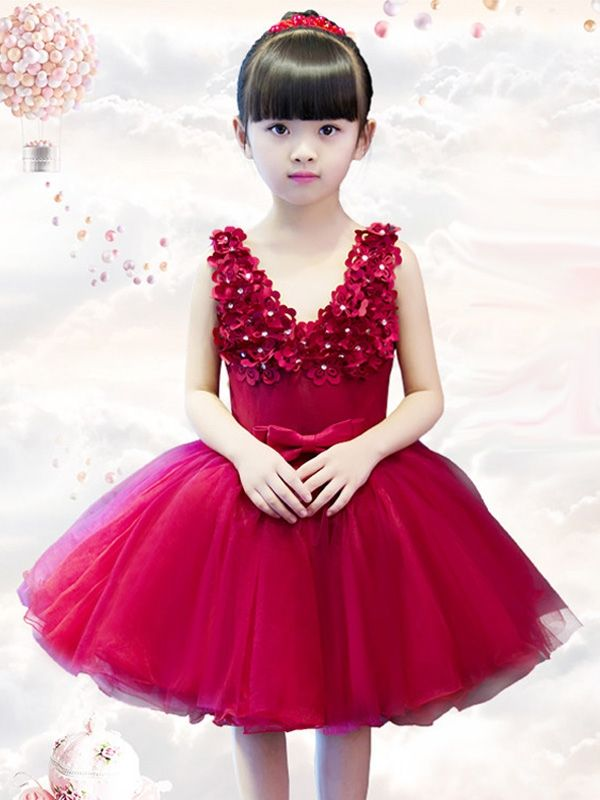 c0a493563 Little  Big Girl s Red Stereo Flowers Classical Wedding Birthday ...