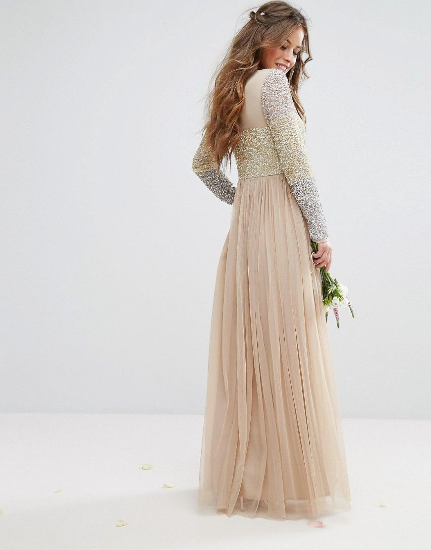 Maya petite long sleeve v neck tulle maxi dress with multi color