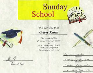 Promotion sunday certificate example sunday school pinterest the photo may be a little small but perhaps you can tell that colby was recently promoted from the grade class at sunday school yadclub Images