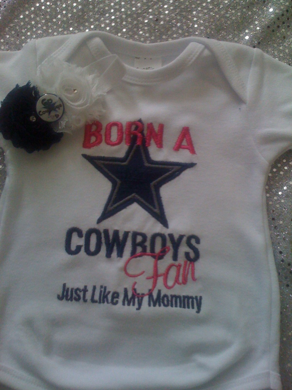 978af61b7 This onsie can be made for boy or girl and can be made to say Cowboys Fan  Like Mommy or Daddy. please specify wich you would like and size