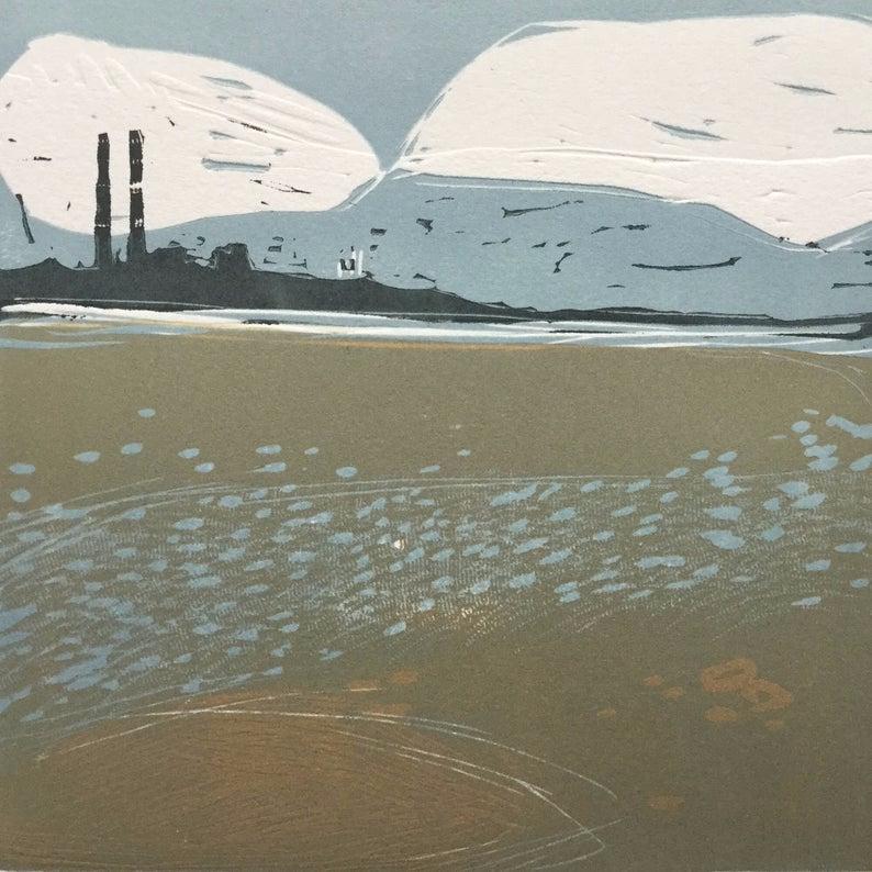 Dublin Port, Poolbeg, Irish Sea, Linocut, Original block print #irishsea
