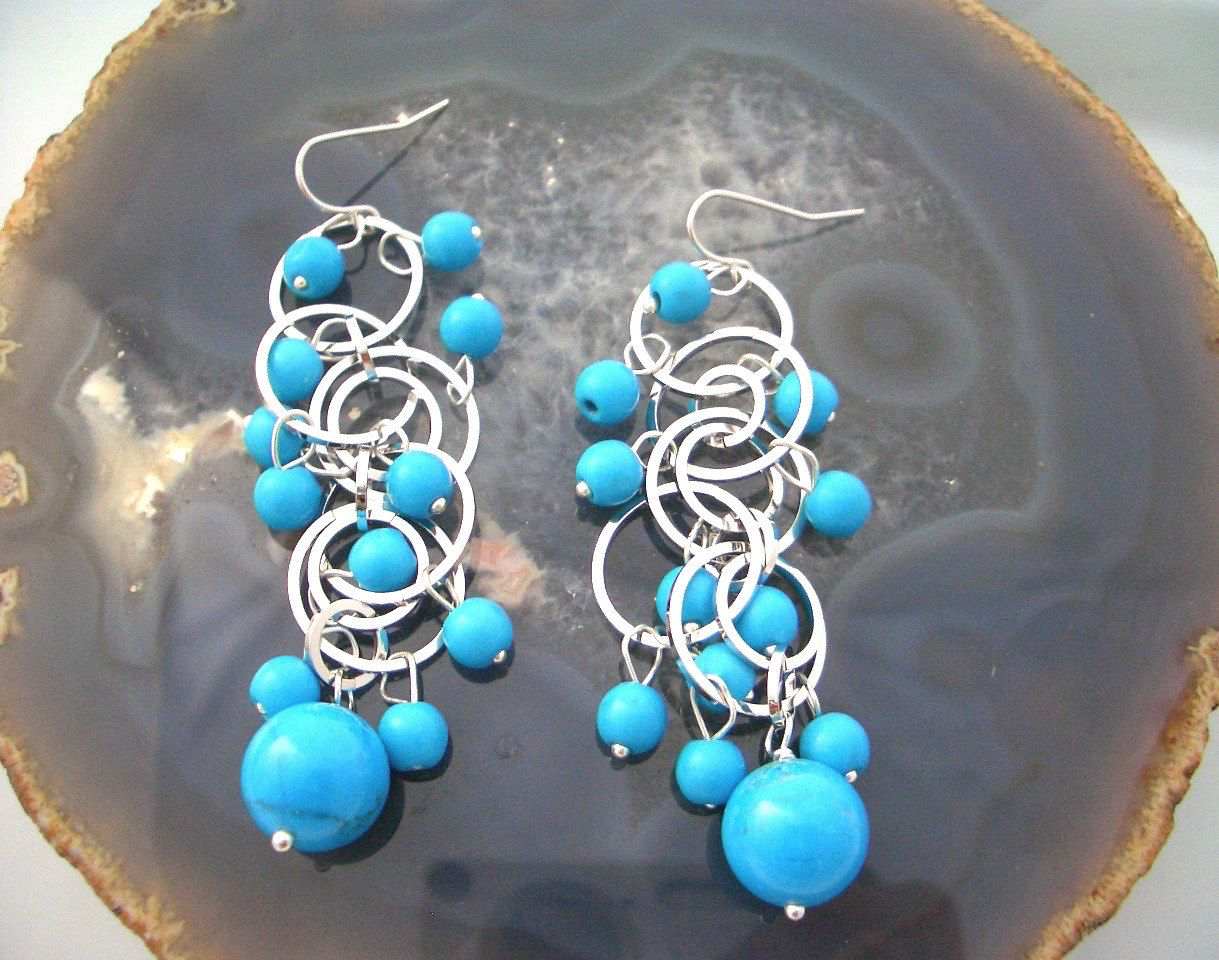 TURQUOISE (Howlite aka White Turquoise) Gemstone Blue Turquoise color, Silver-Plated and 925 Sterling Silver Bubbling Statement Earrings. by AmeogemJewellery on Etsy