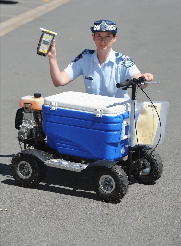 Drunk man riding motorised esky in hot water with police