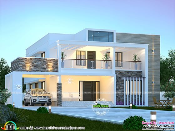3050 Square Feet 4 Bedroom Modern Flat Roof House In 2020 House Roof Design Flat Roof House Kerala House Design