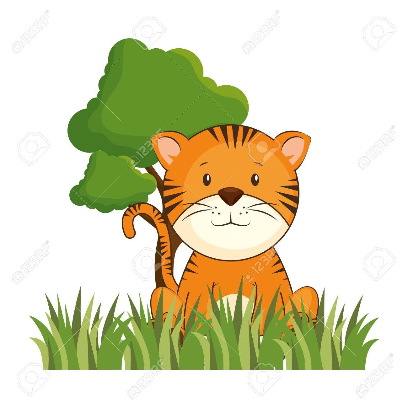 cute tiger in landscape vector illustration design , #AFF, #landscape, #tiger, #cute, #design, #illustration