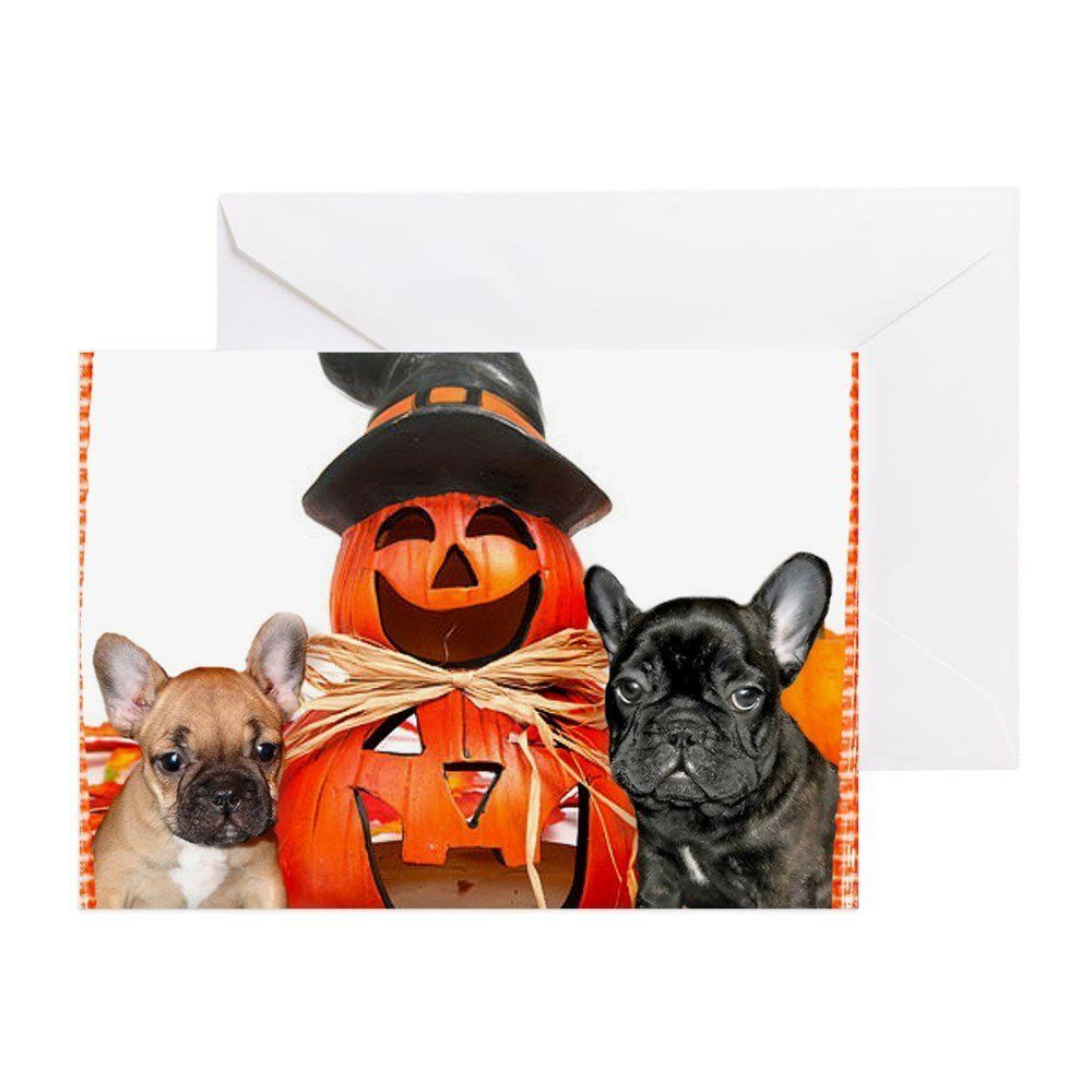 c67f1a834bc ... Hat  cute 7a155 fd614 Amazon.com CafePress - Halloween French Bulldogs  - Greeting Card