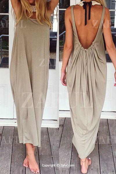 Backless Solid Color Ruffle Sleeveless Maxi Dress KHAKI: Dresses 2015   ZAFUL