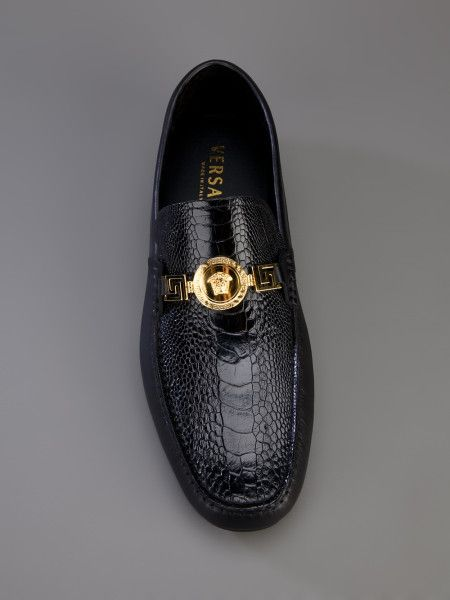 f1b4a6a8cadb Versace Shoes   Versace Ostrich Car Shoe in Black for Men   Versace ...