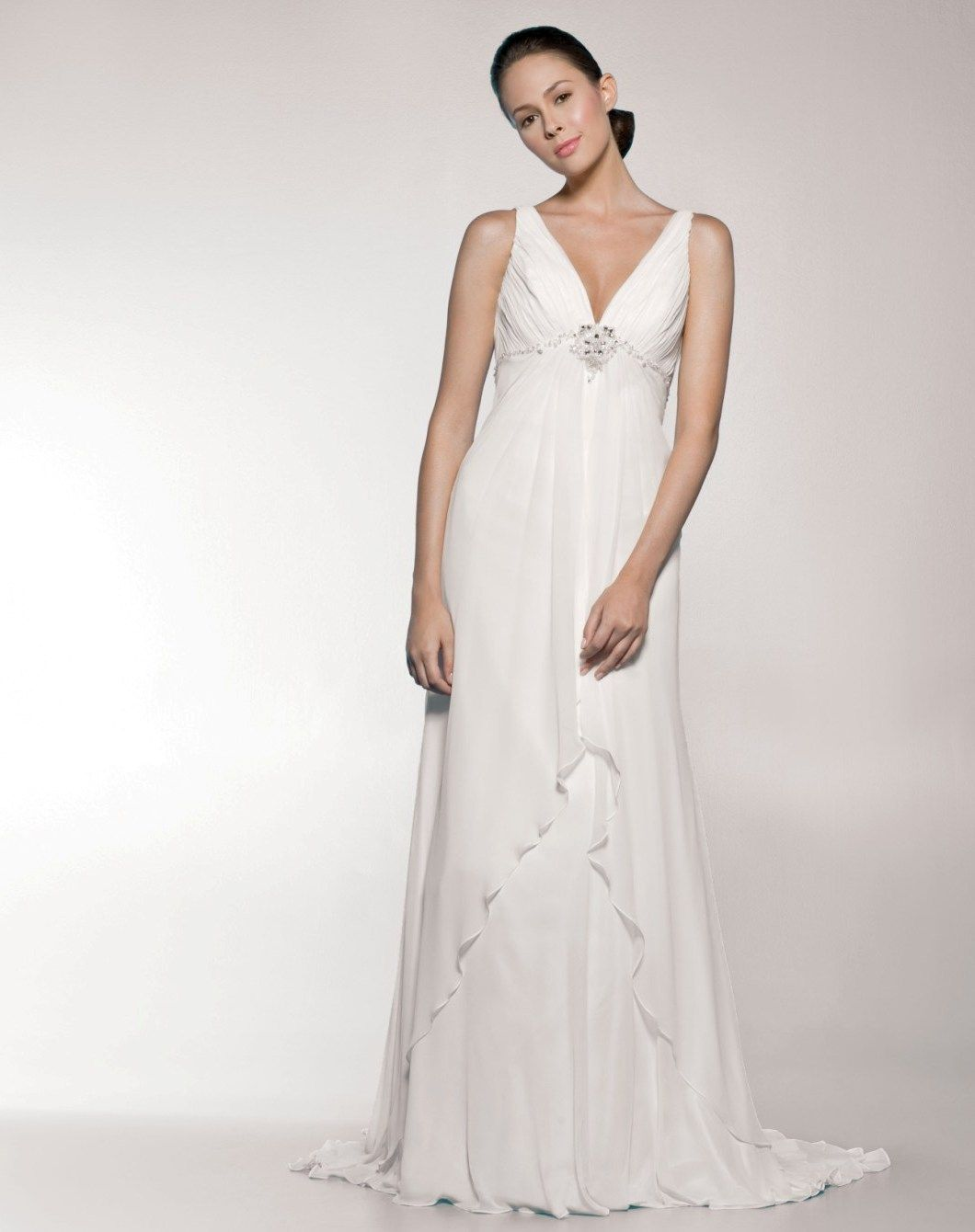 Empire Plunging V-neck Beaded Low Back Grecian Style Wedding Dress ...