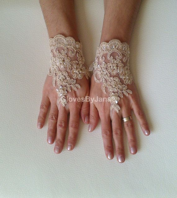 Lace glove free ship Champagne wedding prom party by GlovesbyJ, $30.00