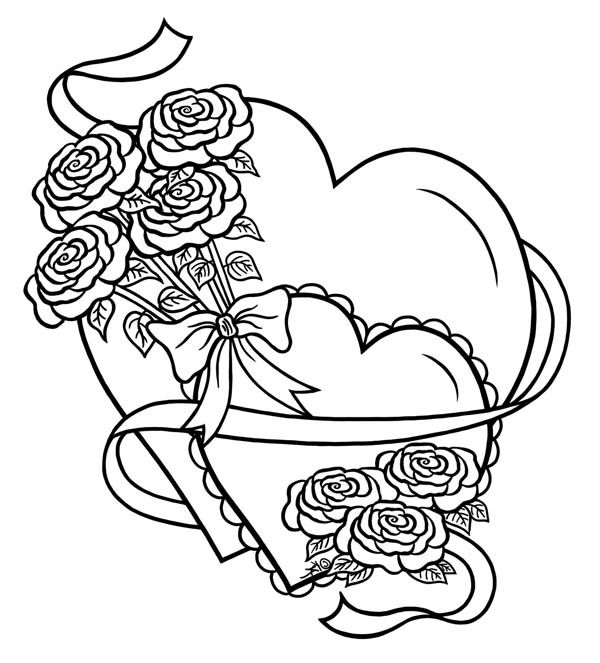 Hearts Roses And Tied With Ribbon Coloring Page