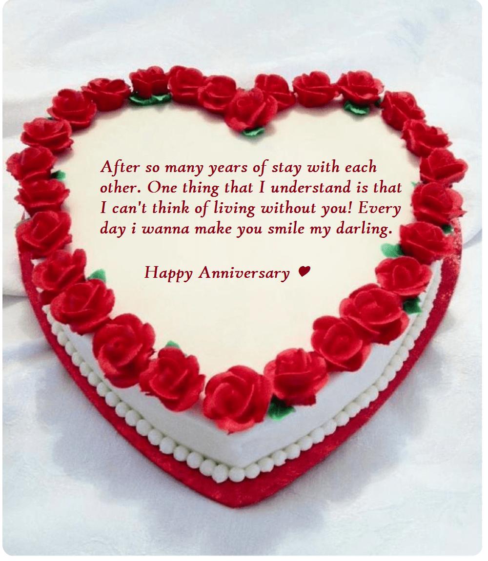 Heart shape cake anniversary wishes for wife wedding anniversary